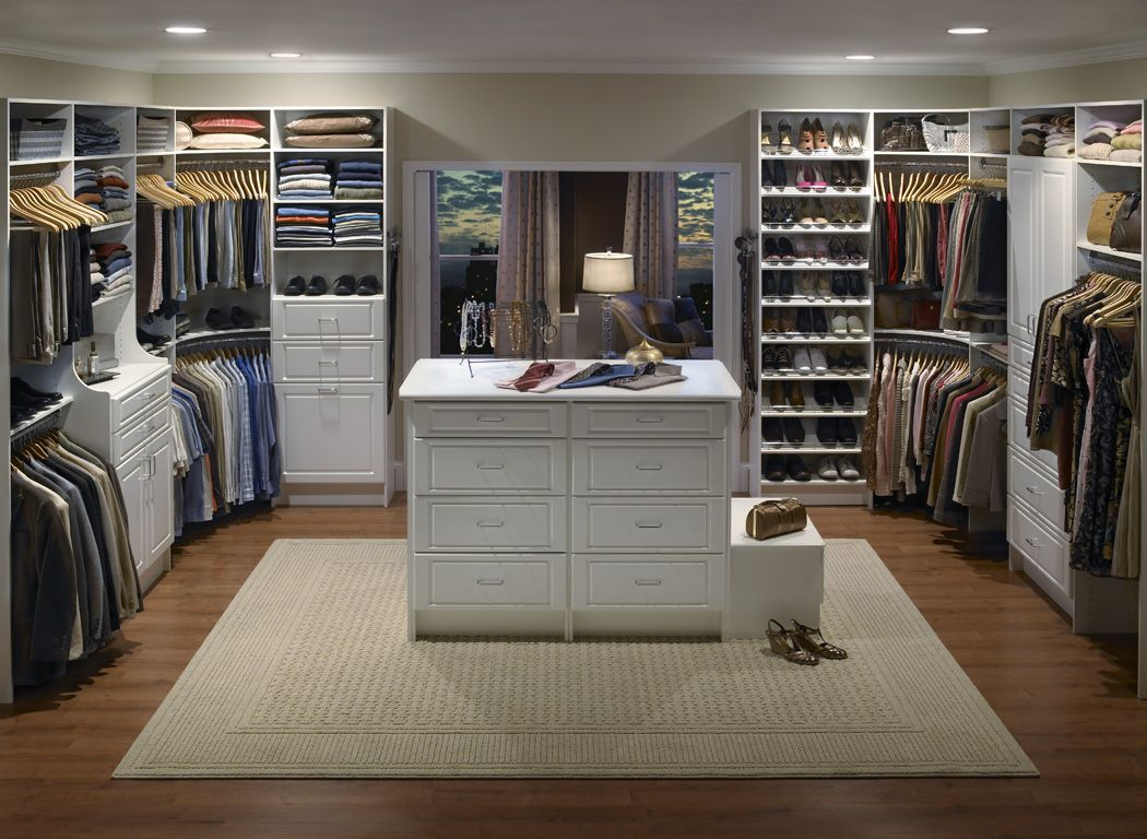 big Walk in Closet with Classic Chest Cabinets