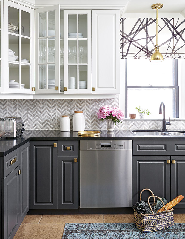 Grey and White Kitchen with Marble Herringbone Backsplash ideas