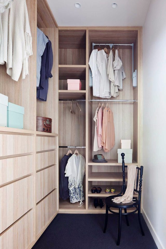 Walk In Closet Ideas with Laminated Wood for a simple space