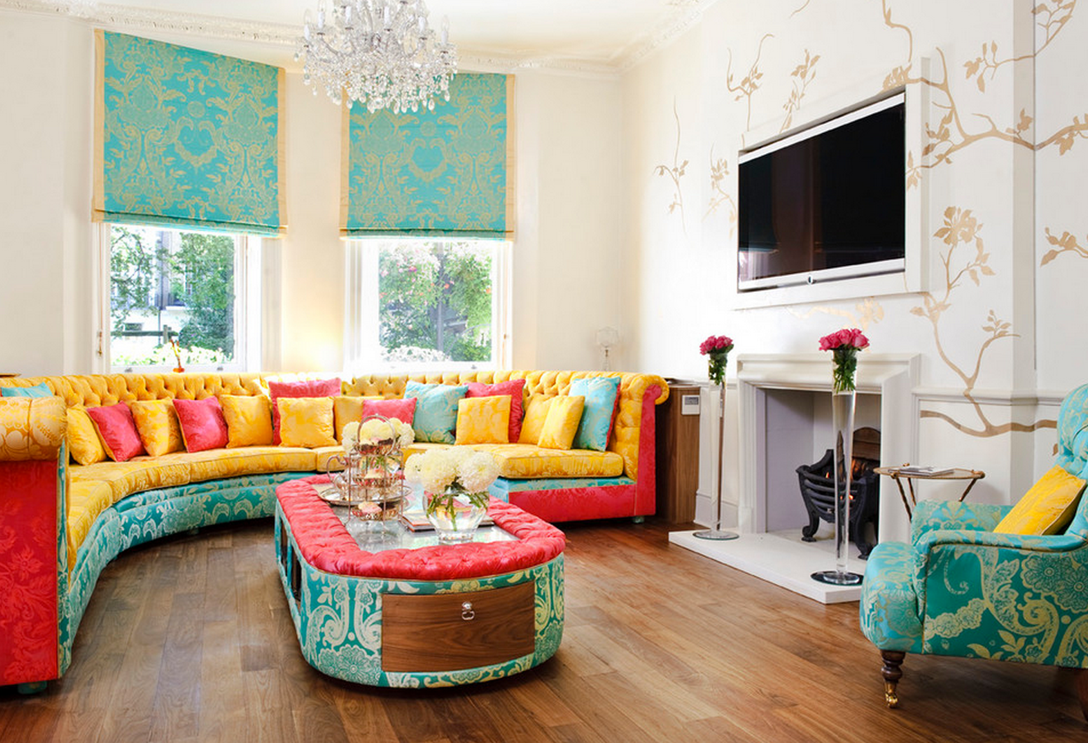Design Living Room with Bright Yellow Arm Chairs