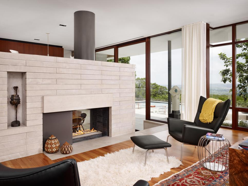 Design Mid Century Modern Living Room with Fireplace