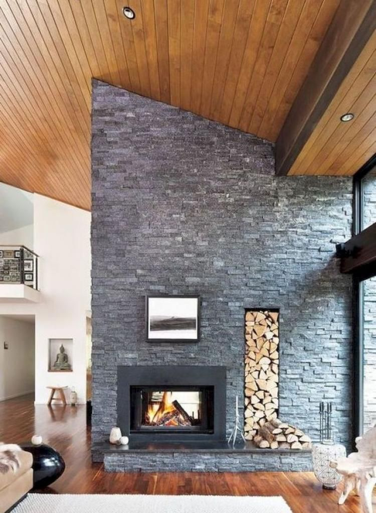 Design Mid Century Modern Living Room with Stone Wall Ideas