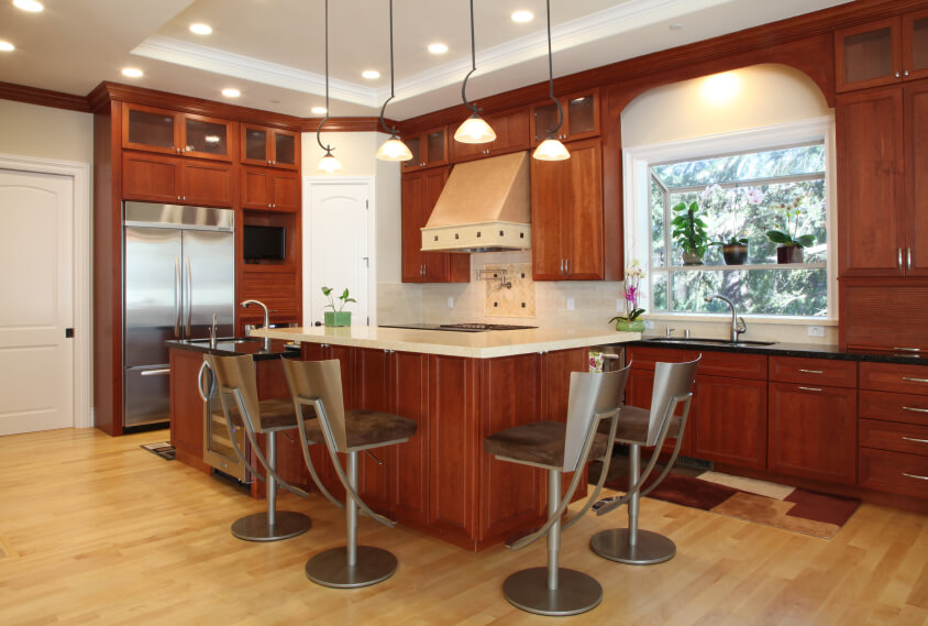 Small Kitchen with Warming Wooden Floor ideas