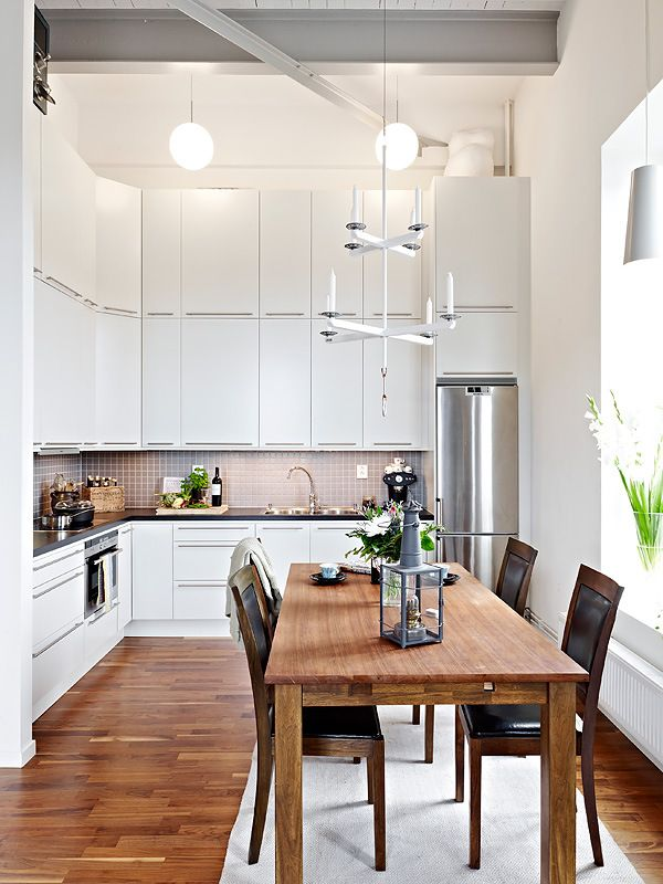 Small Minimalist Scandinavian White Kitchen ideas