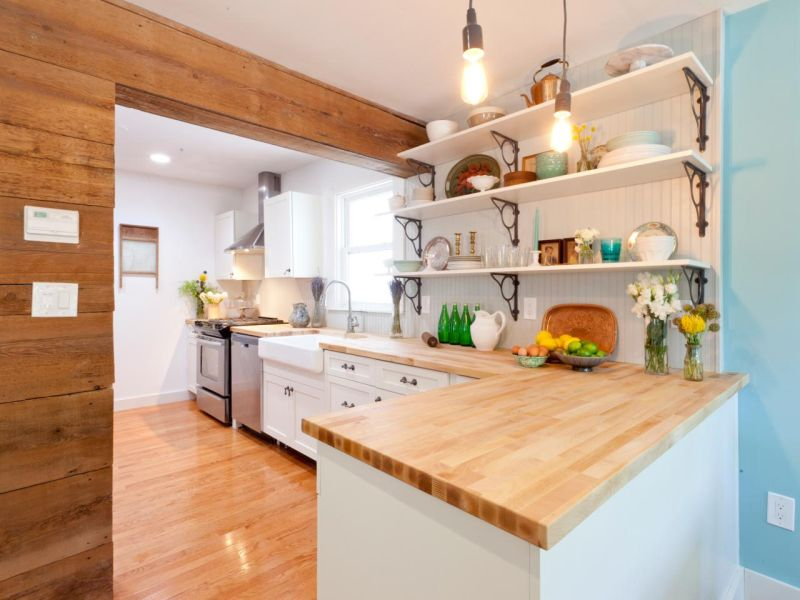 Small White U-shaped Kitchen with Solid Wood Countertop ideas