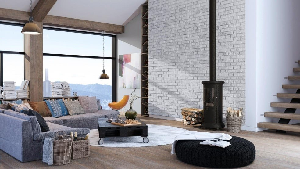 White Brick Wall Mid Century Modern Living Room Ideas