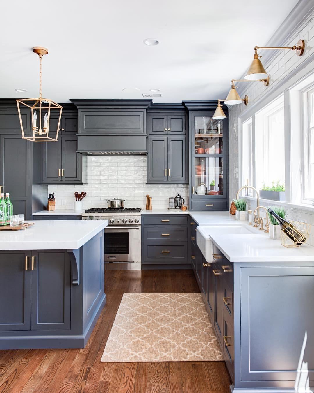 best Slate Blue-White Kitchen