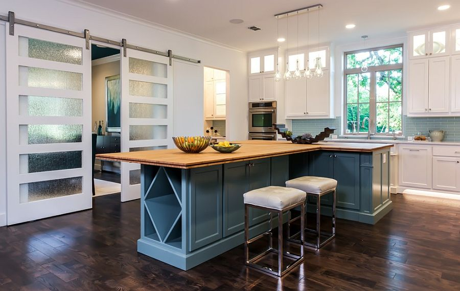 design White and Blue Kitchen Cabinets