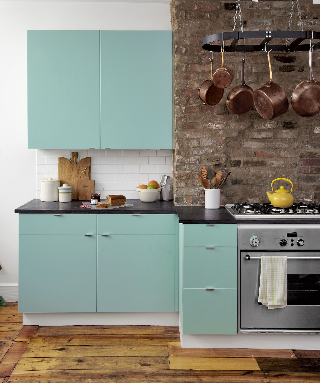 Mid Century Kitchen with Soft Blue Cabinets