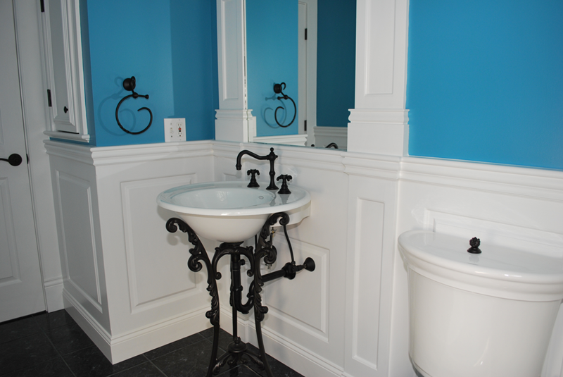 black wainscoting bathroom