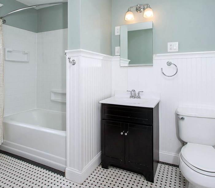 wainscoting a bathroom wall