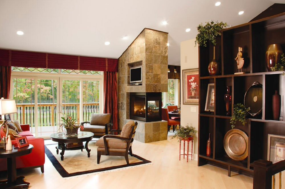 corner fireplace accent wall