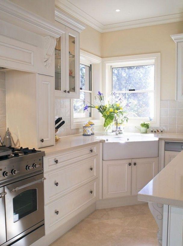 corner kitchen sink white