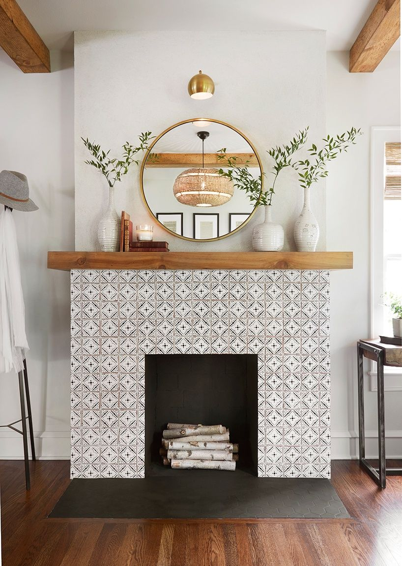 fireplace tile mosaic