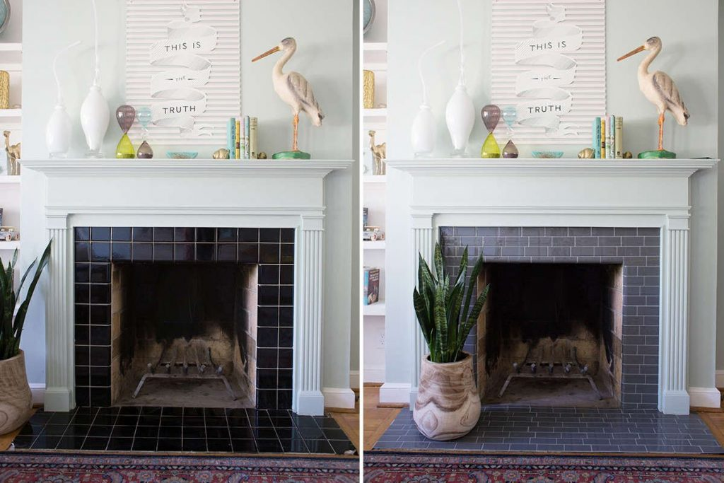 fireplace tile mortar