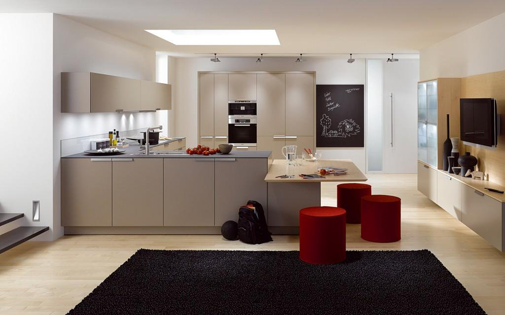 gray kitchen cabinets with yellow walls
