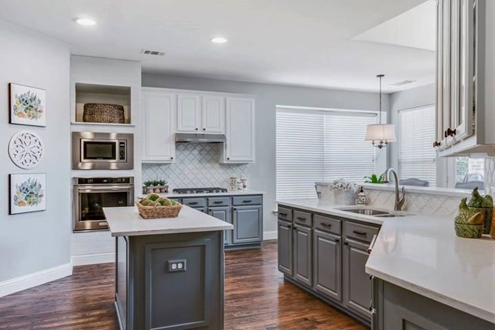 u shaped kitchen with gray cabinets