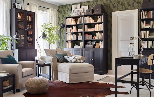 living room alcove storage