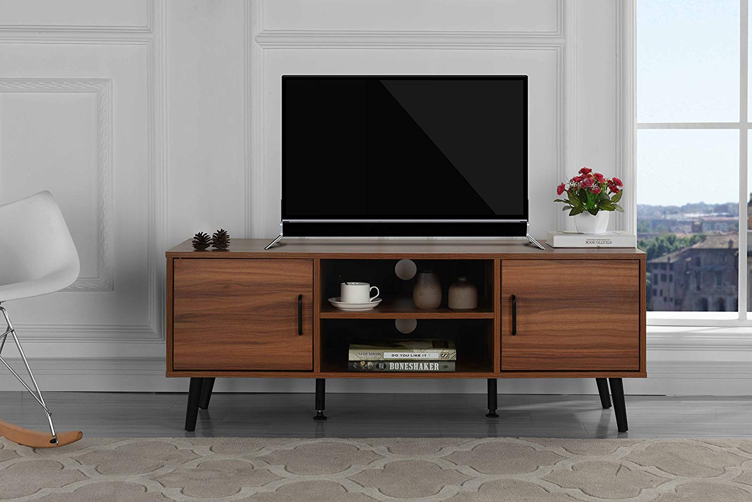 solid wood mid century modern tv stand