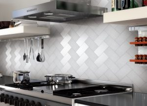 stainless steel backsplash with shelf