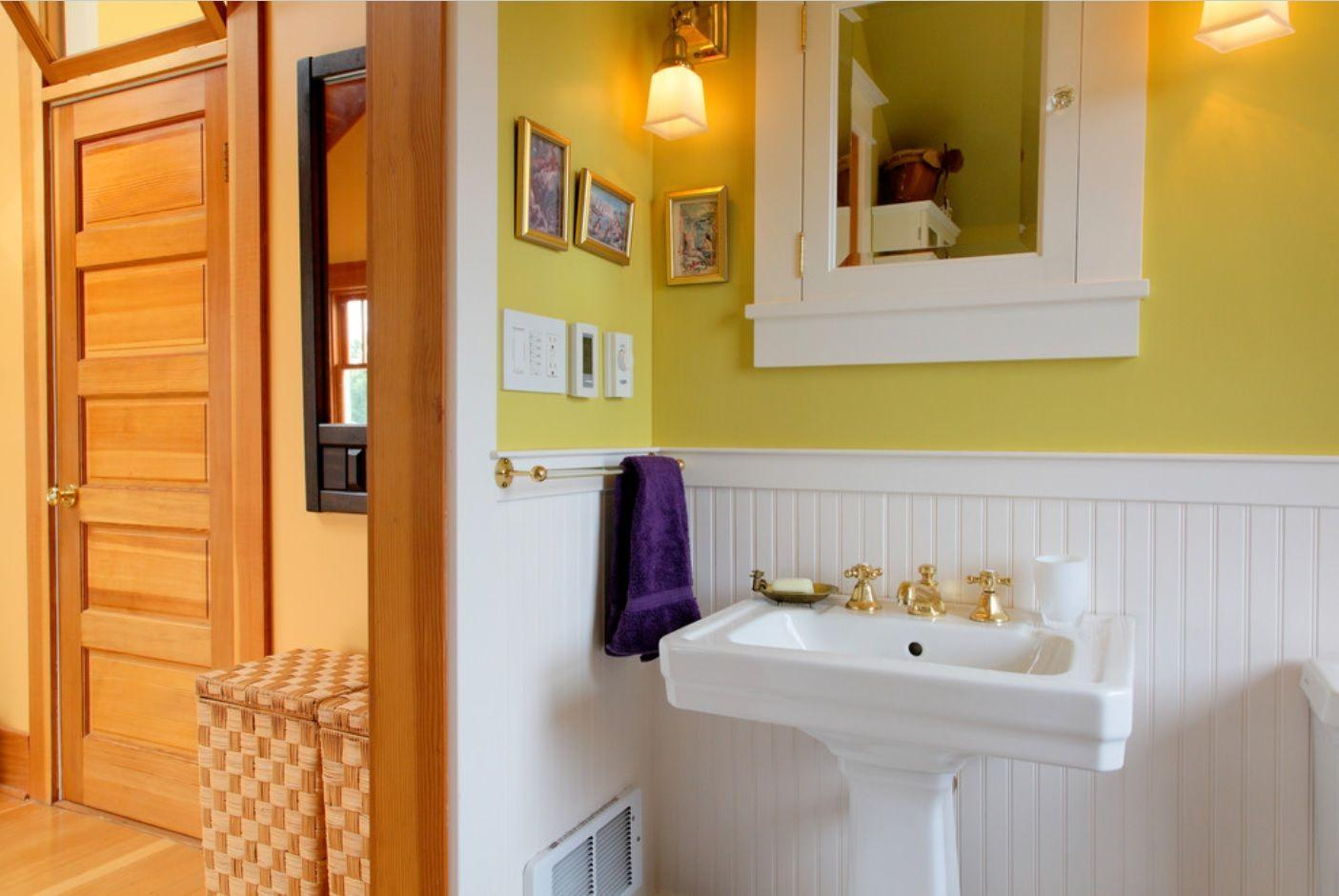 wainscoting around bathroom sink