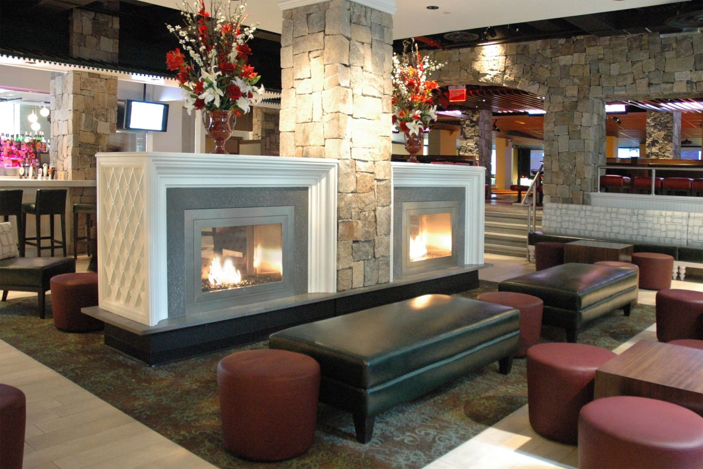 double sided fireplace house plans
