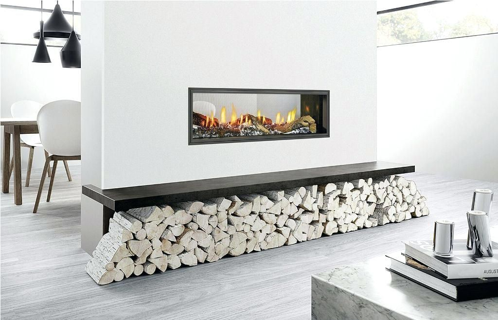 double sided fireplace in kitchen