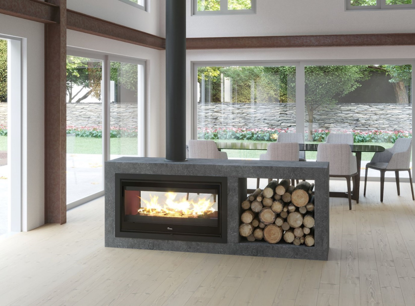 double sided fireplace insert gas