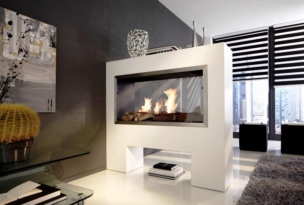 double sided fireplace installation