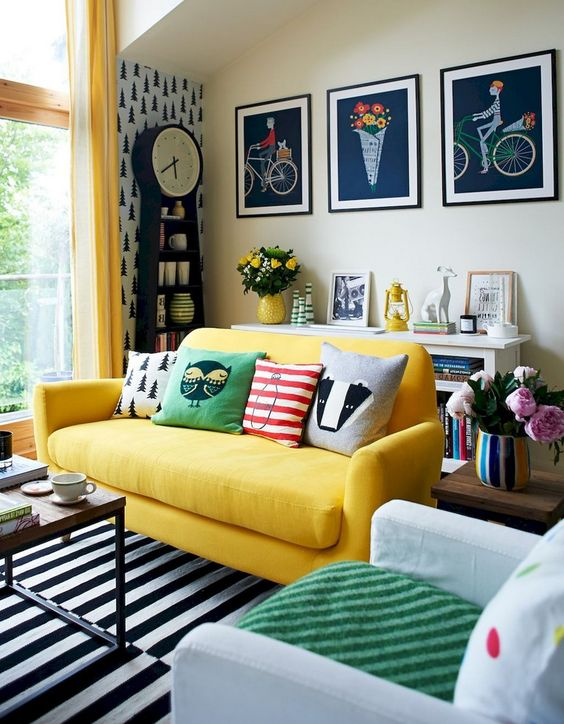eclectic living room pastel
