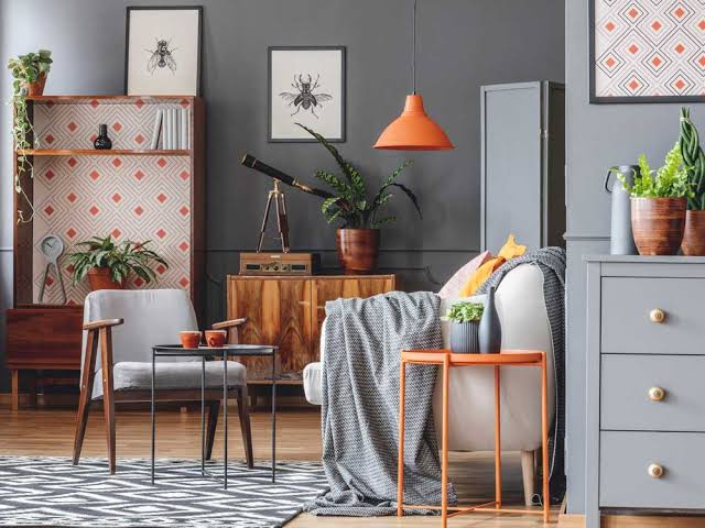 eclectic orange living room