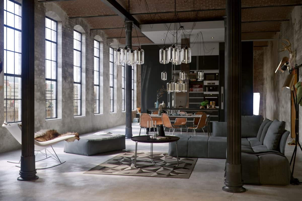 industrial living room small