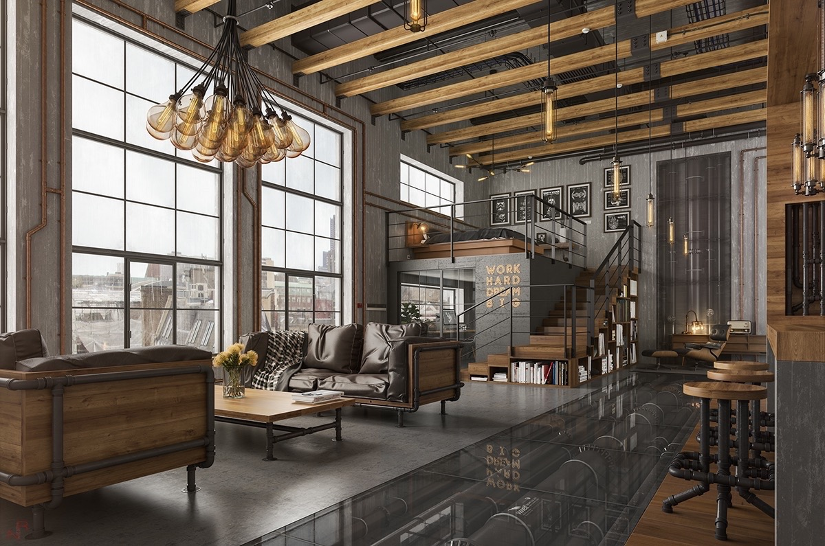 industrial living room themes