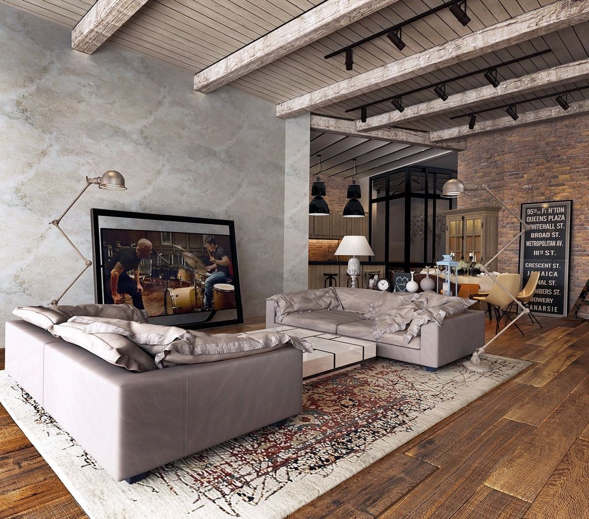industrial traditional living room