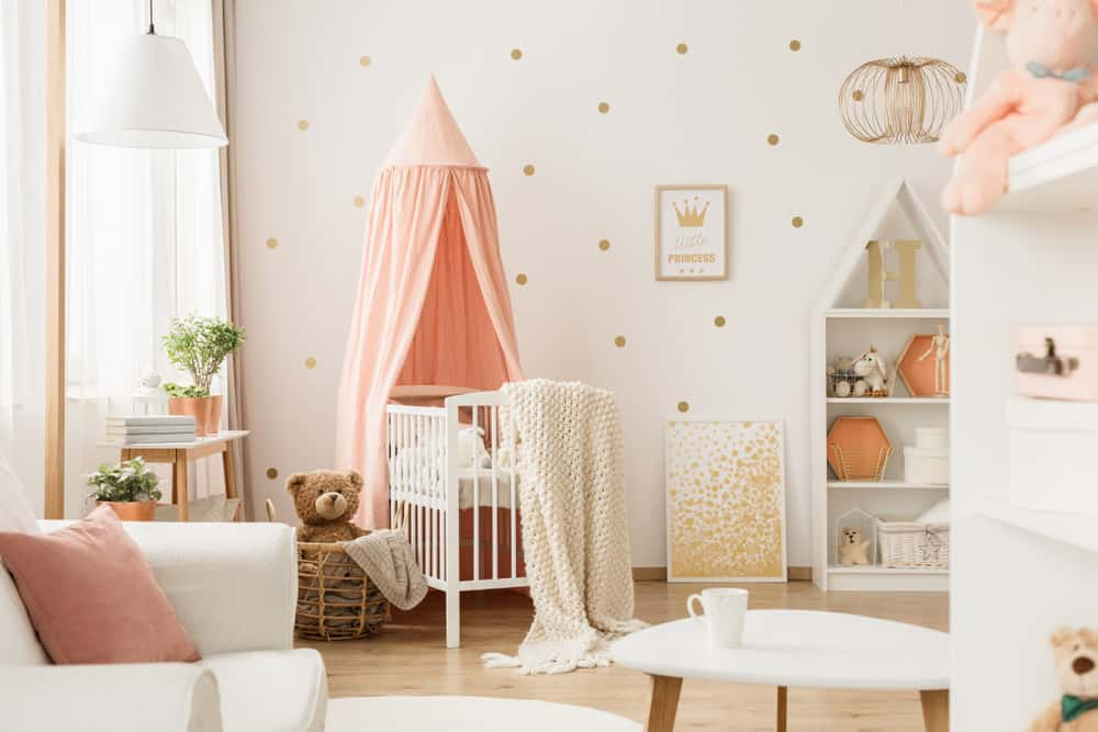 baby girl nursery ideas with grey crib