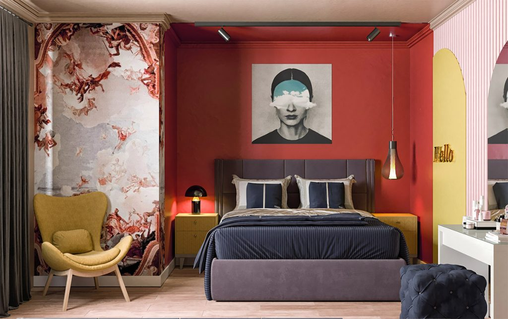 red bedroom mural