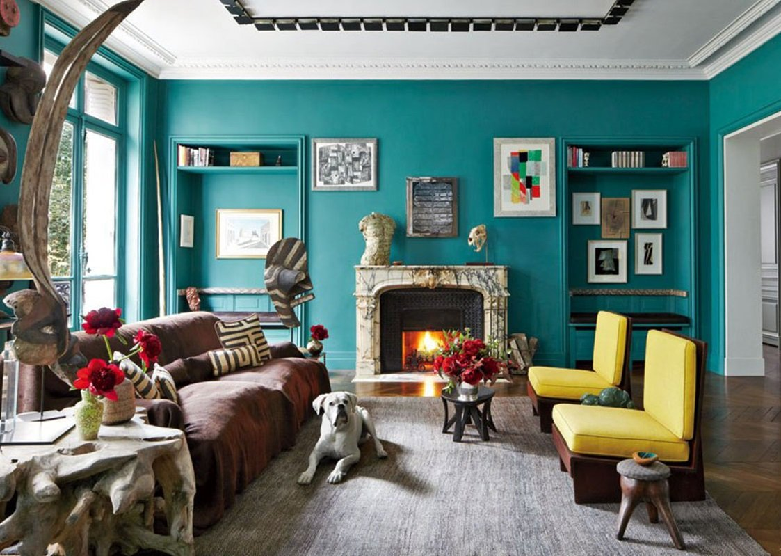 teal-colored living room