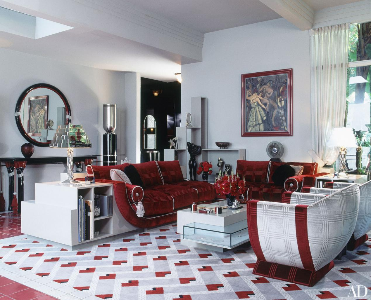 Living Room in Red and White Tones