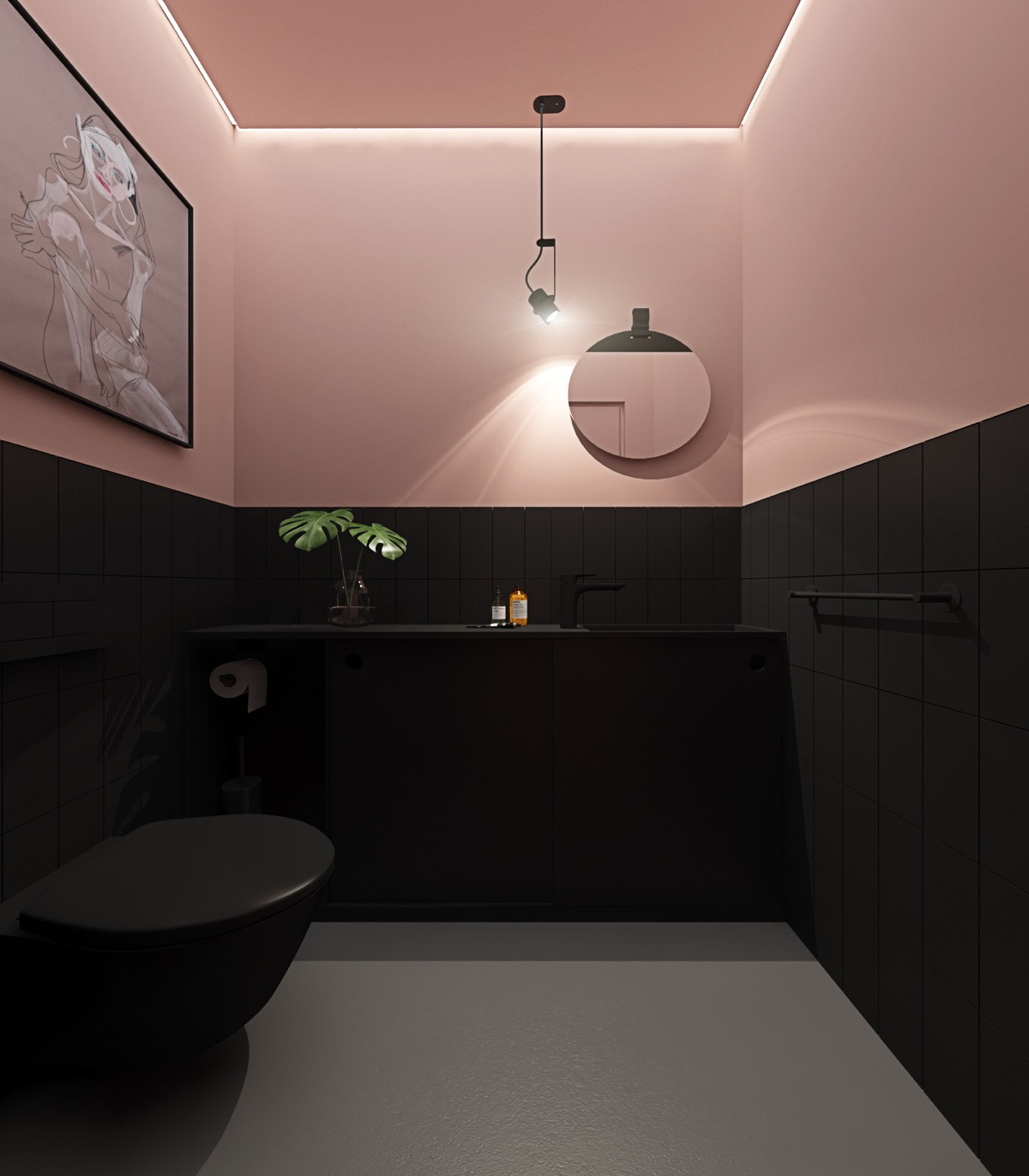 Simple Bathroom in Pink Colours