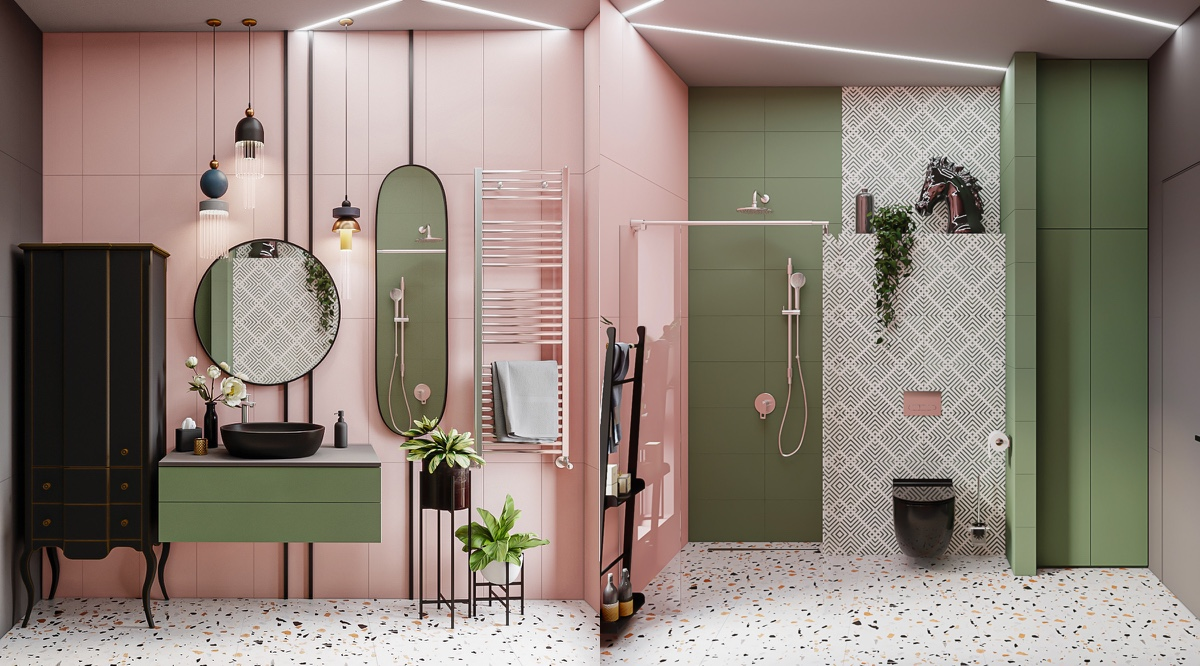 Bathroom in Pink and Olive Green