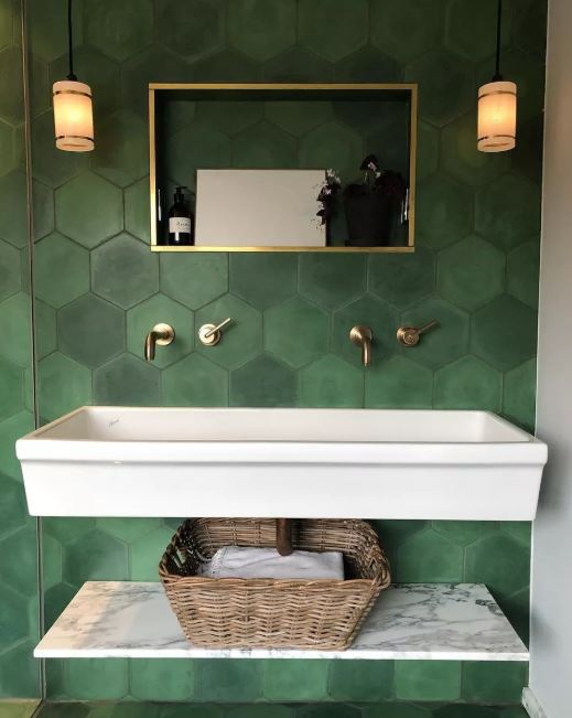 Pretty Green Bathroom