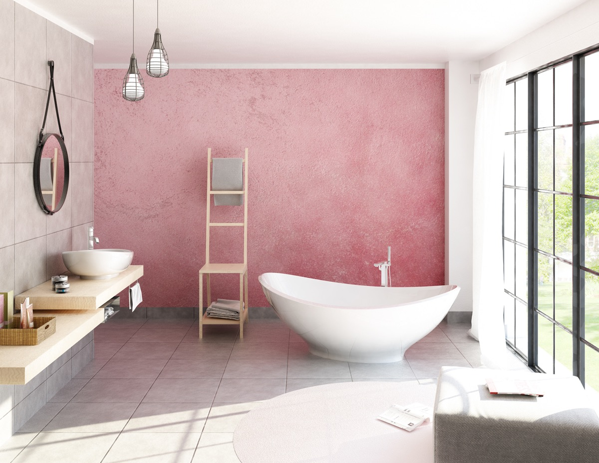Bathroom with Pink Wall