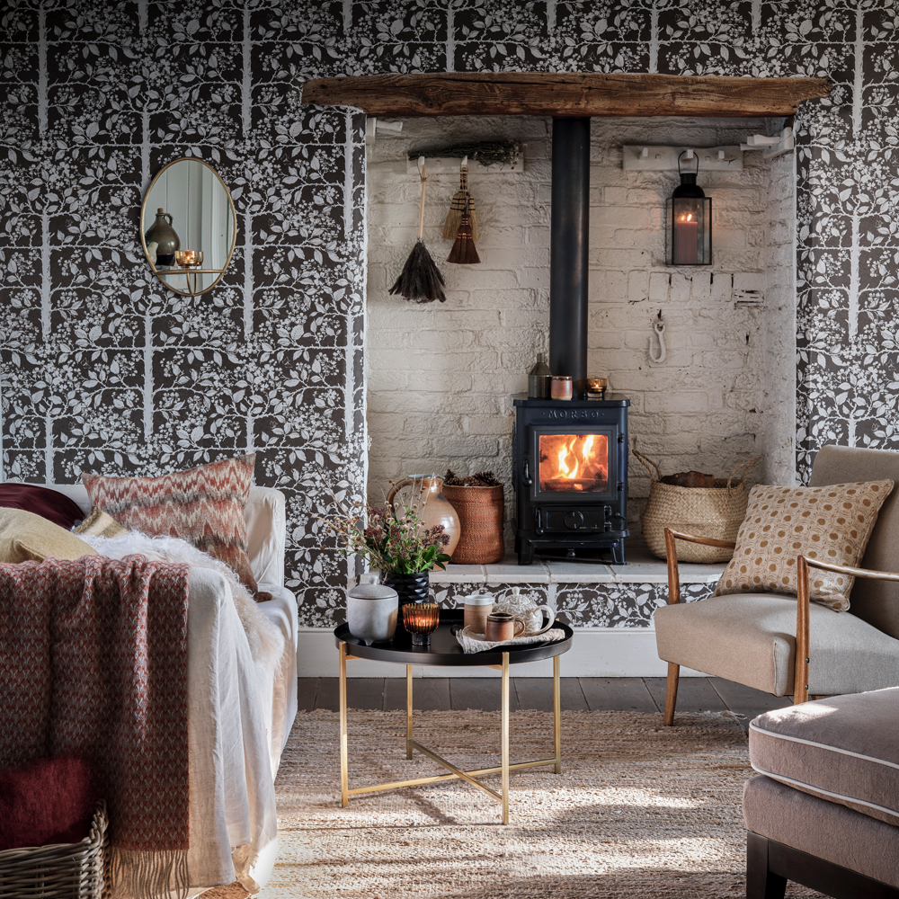 foliage wallpaper for rustic living rooms
