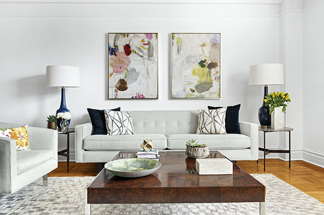Table in Grey Couch Living Room