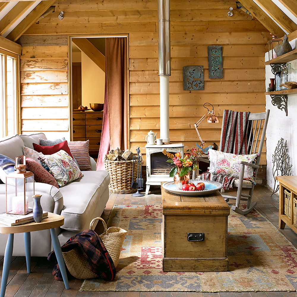 wood planks for a warm cabin style living room