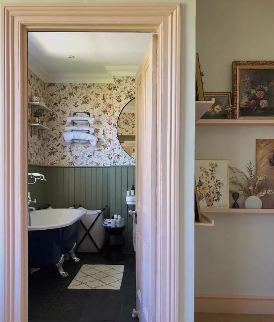 Bathroom with Sage Green Wainscoting