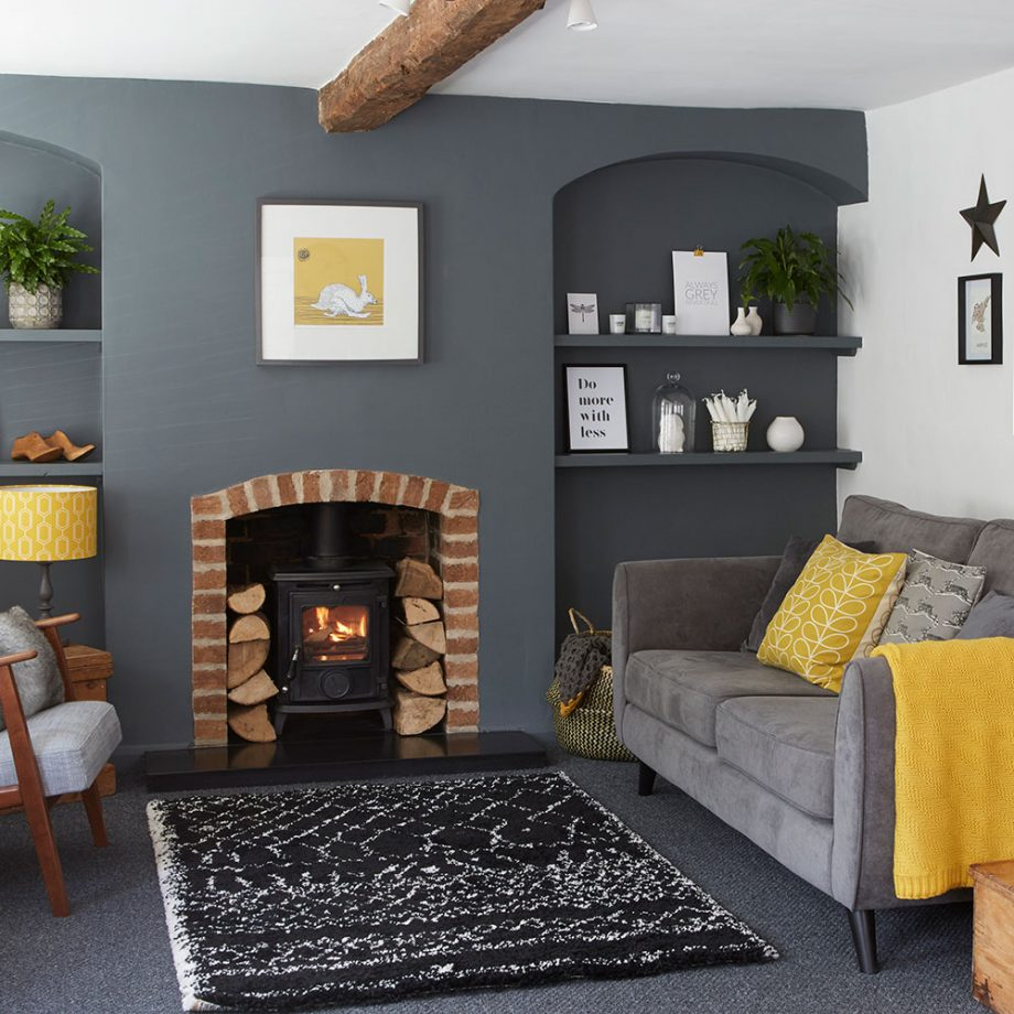 Fireplace in Grey Living Room