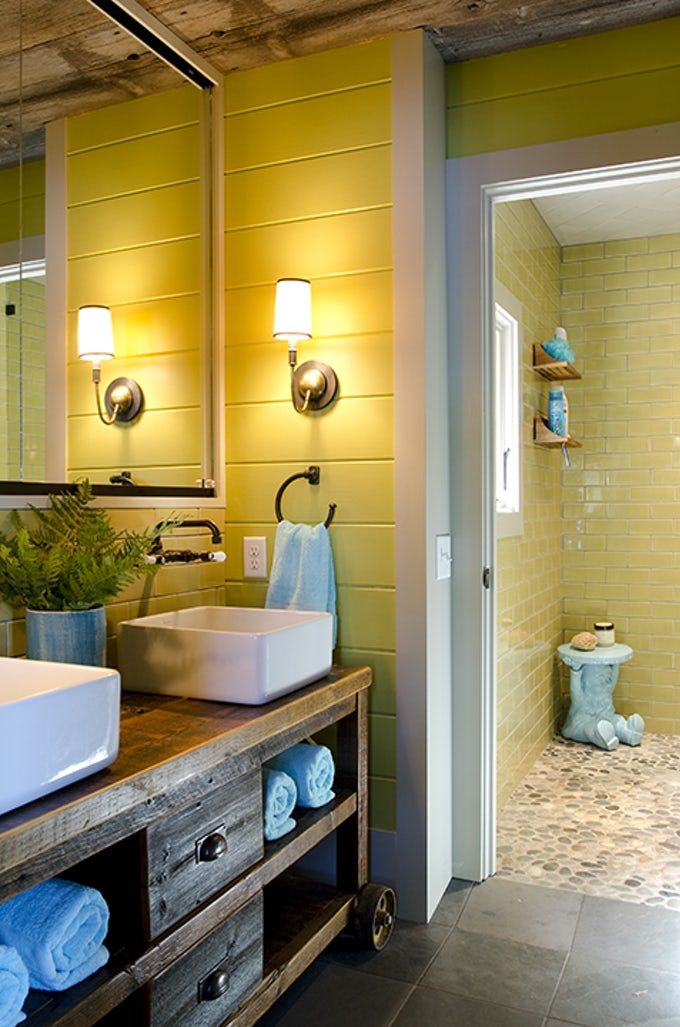 Bathroom with Two Yellow Shades