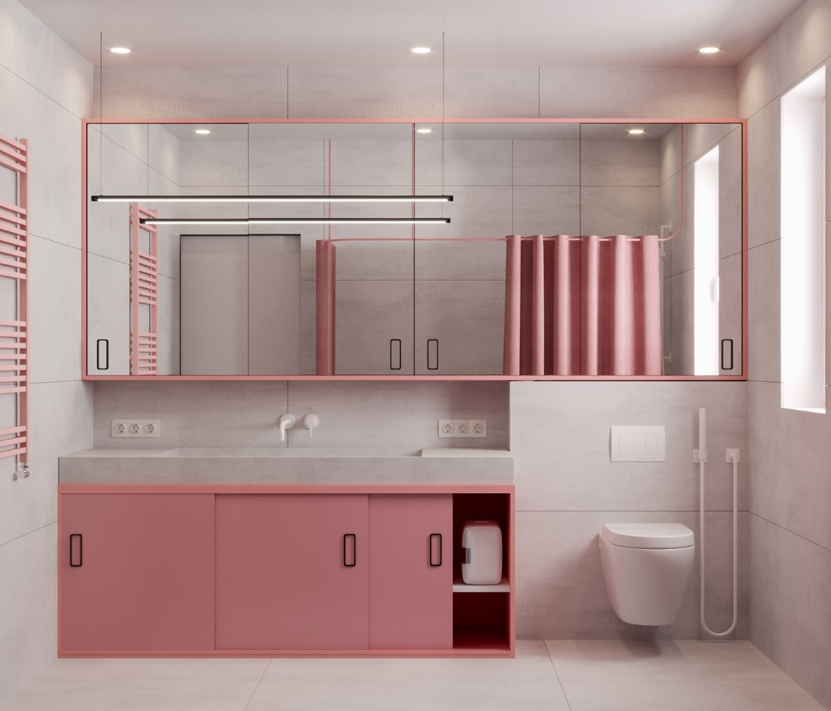Bathroom in Pink and White Colours