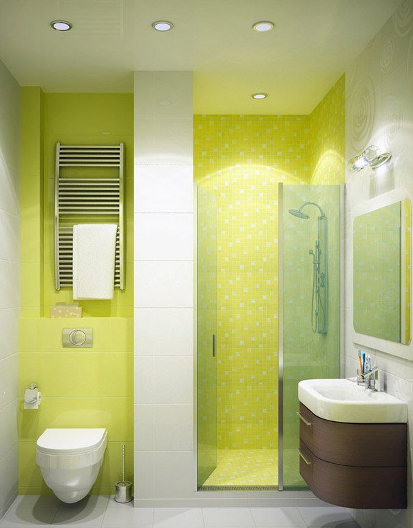 Bathroom in Bright Green Colour
